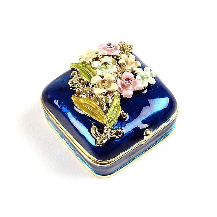 Mini Blue Trinket Box with Flowers