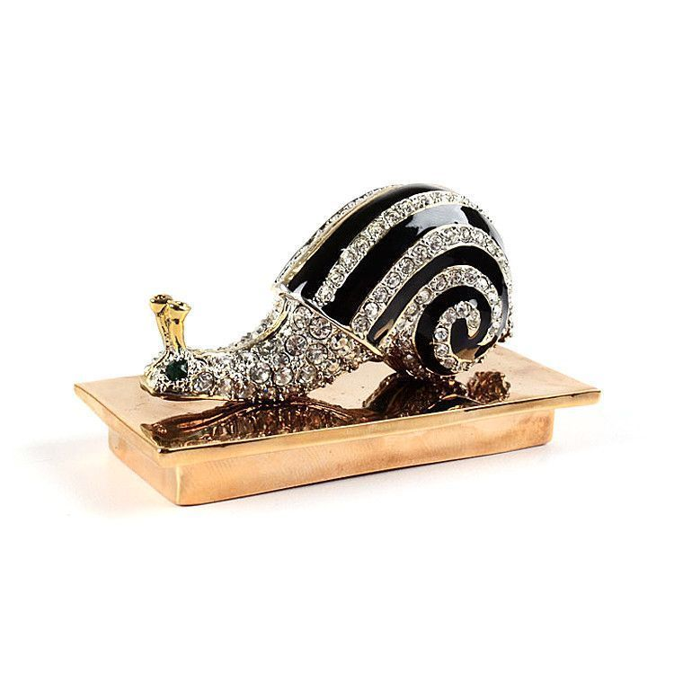 Fancy Snail with Crystals Trinket Box