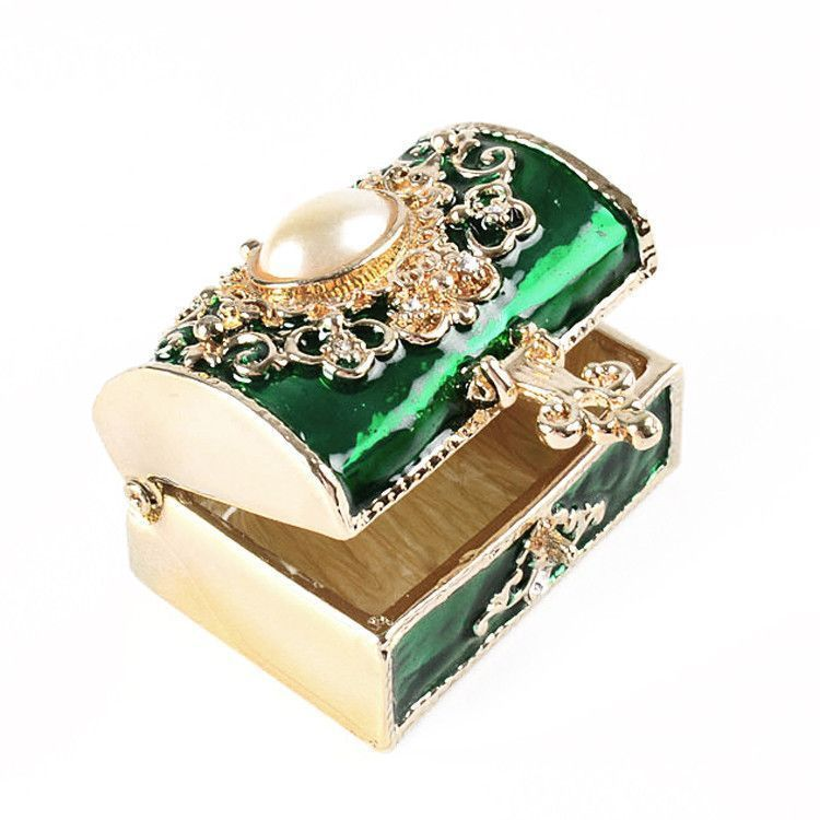 Green Treasure Chest Trinket Box