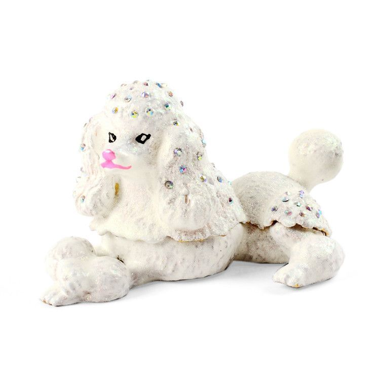 White Poodle Trinket Box