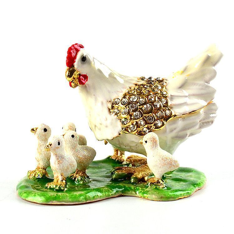 Mother Hen with Baby Chicks Trinket Box