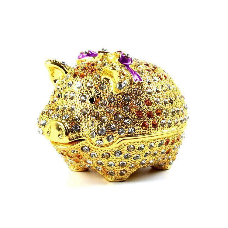 Very Cute Round Piggy Trinket Box