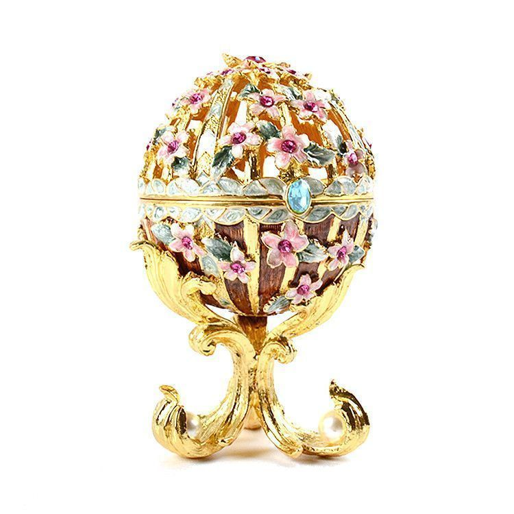 Floral Faberge Style Egg Trinket Box