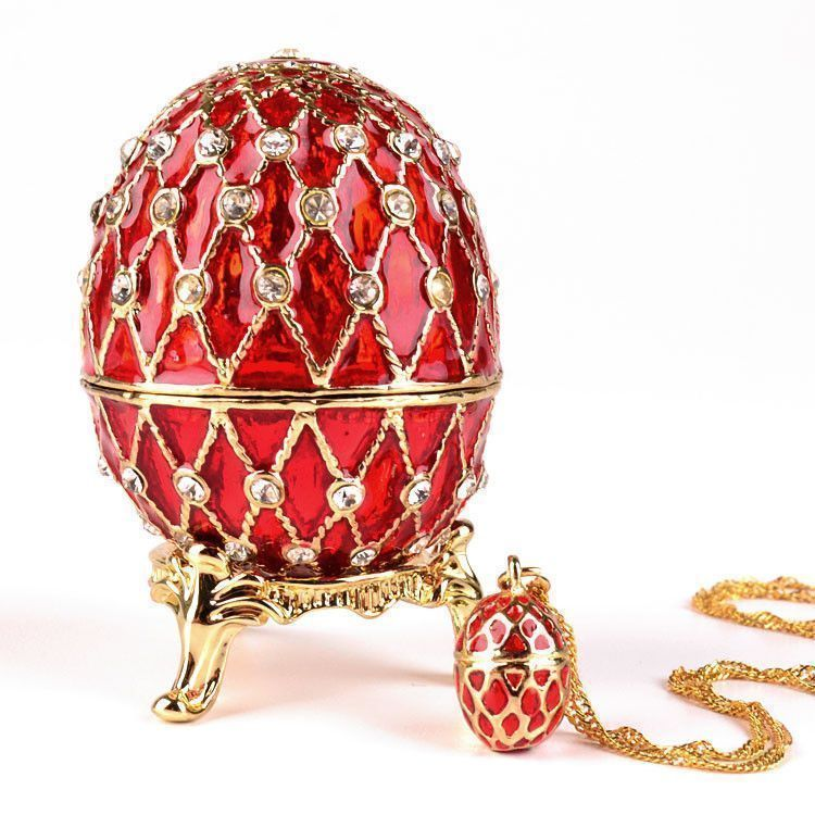 Red Faberge Egg & Necklace Set