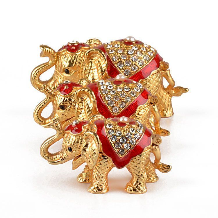 Golden Elephant Family Trinket Set