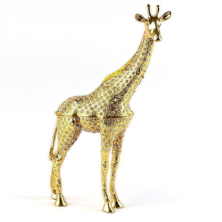 "9"" Tall Golden Giraffe Trinket Box"