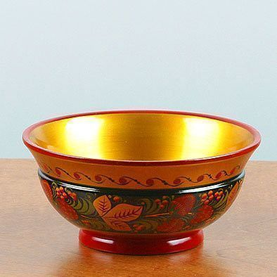 Red Berries Khokhloma Wooden Bowl