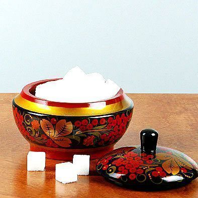 Khokhloma Hand Decorated Sugar Dish