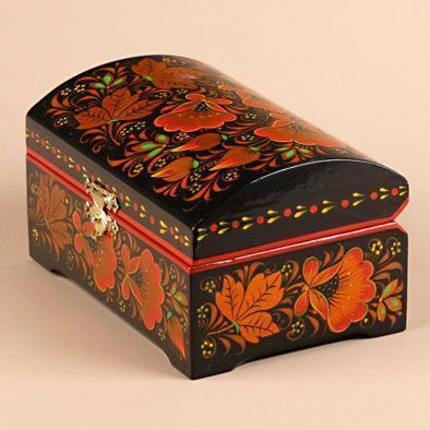 Khokhloma Jewelry Box from Russia