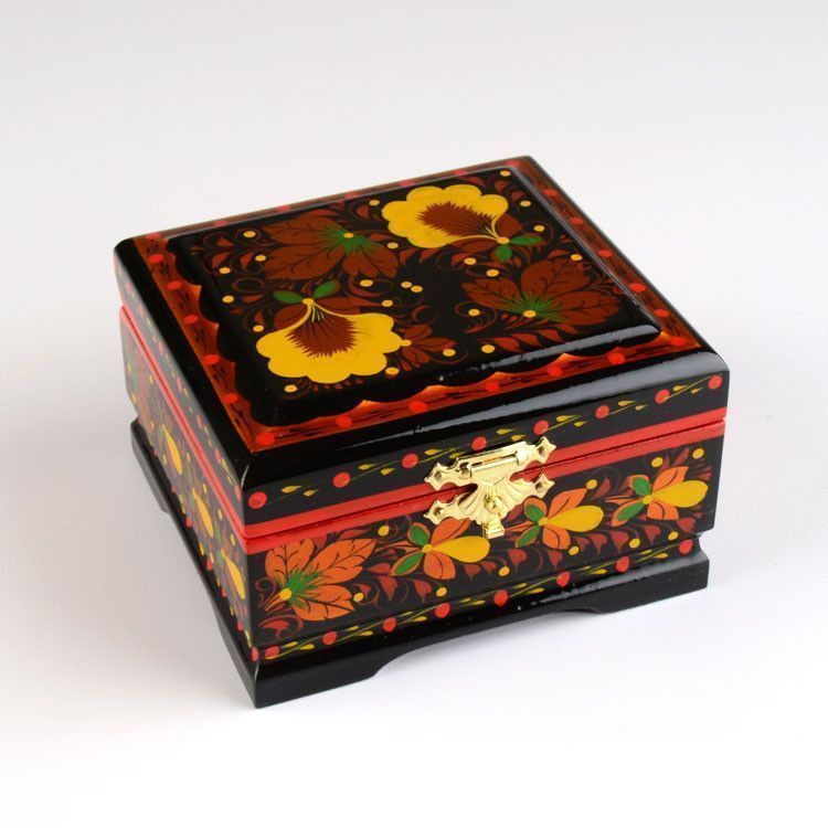 Yellow Flower Khokhloma Jewelry Box