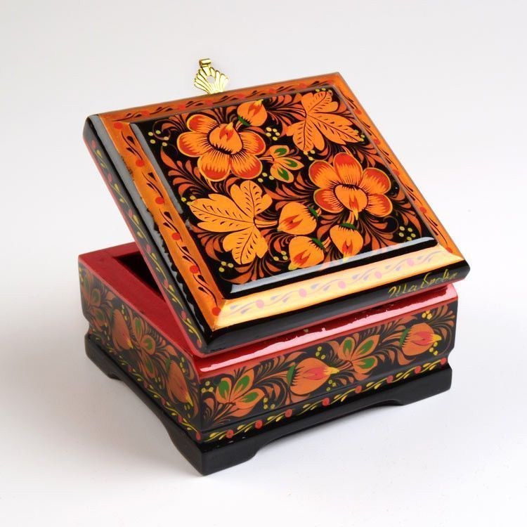 Blooming Flowers Russian Jewelry Box