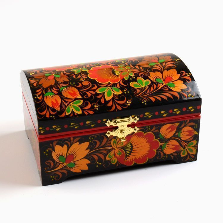 Floral Khokhloma Jewelry Box