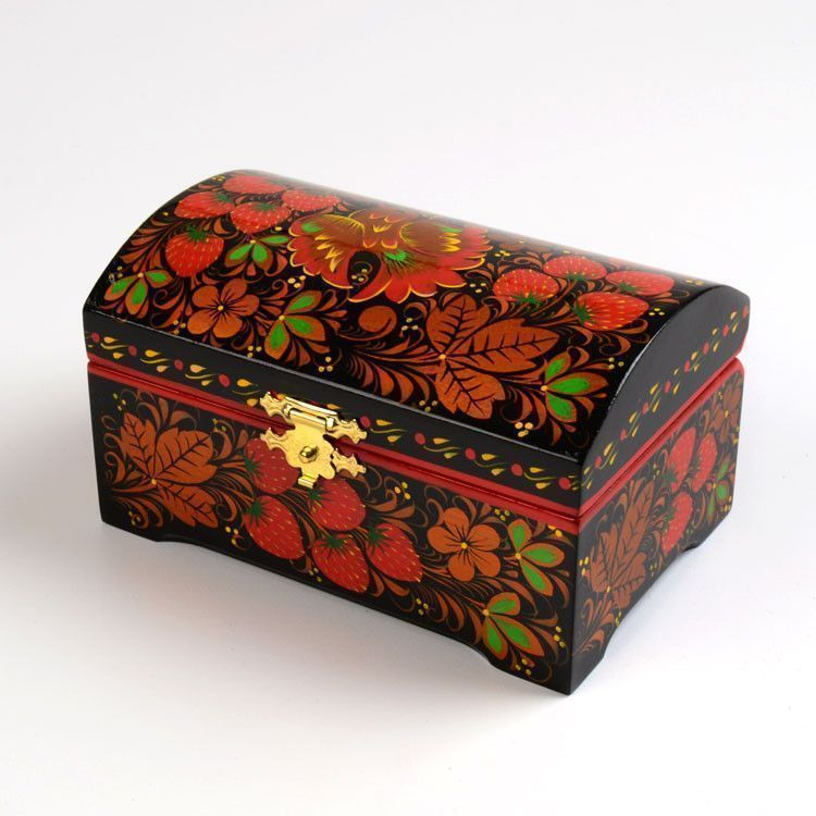 Golden Fowl Khokhloma Box