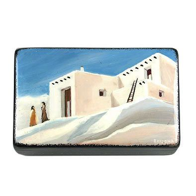 Pueblo Adobe Village Lacquer Box