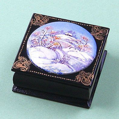Winter Landscape Russian Lacquer Box