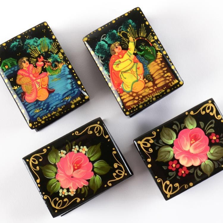 Miniature Russian Lacquer Boxes Set