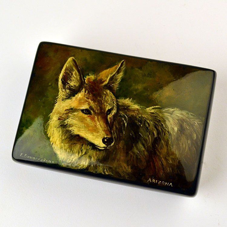 Handpainted Coyote Box
