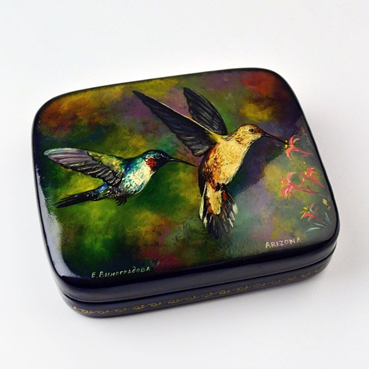 Two Hummingbirds Lacquer Box