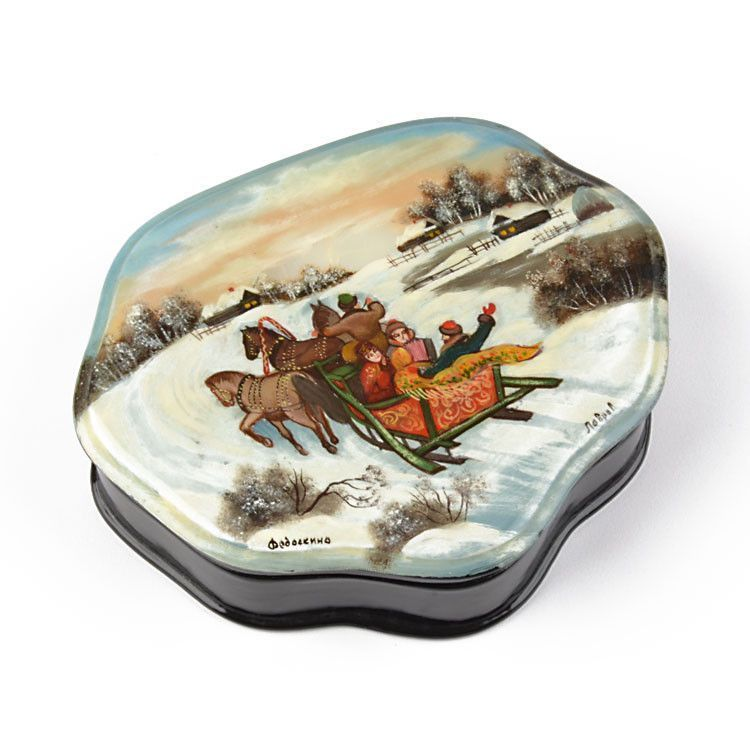 Russian Troika Lacquer Jewelry Box