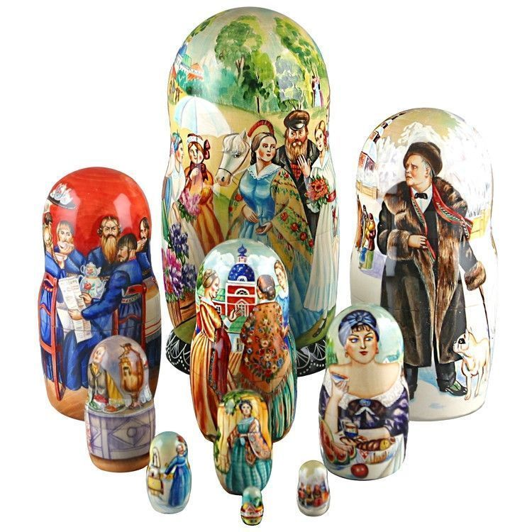 Scenes From Famous Russian Paintings Stacking Doll