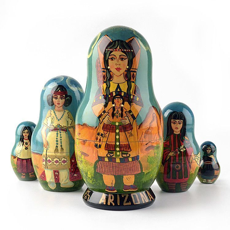 Native American Girls Nesting Dolls