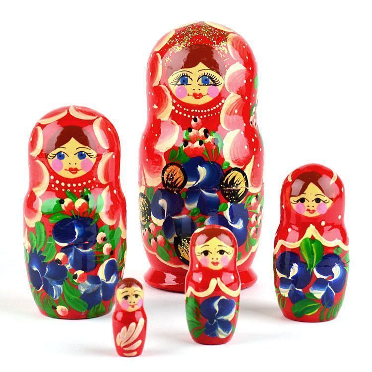Blue Flowers and Berries Babushka Doll