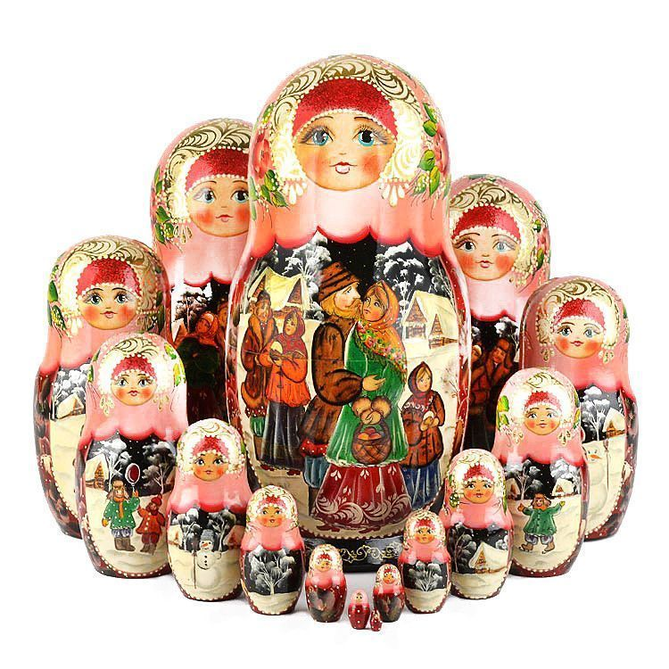 Russian Holiday 15 Pcs. Stacking Doll