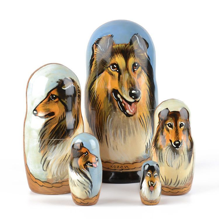 Collie Dog Breed Nesting Doll