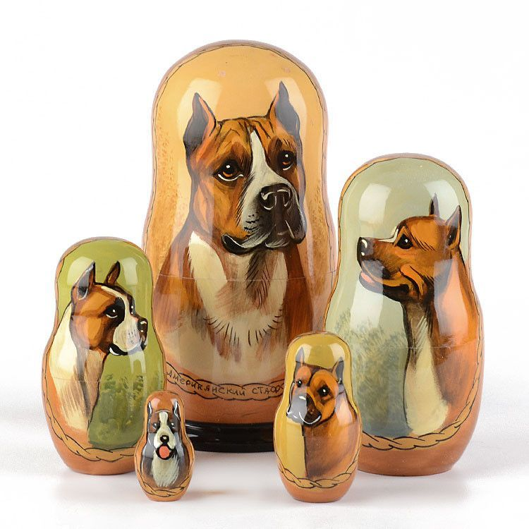 American Staffordshire Terrier Nesting Doll