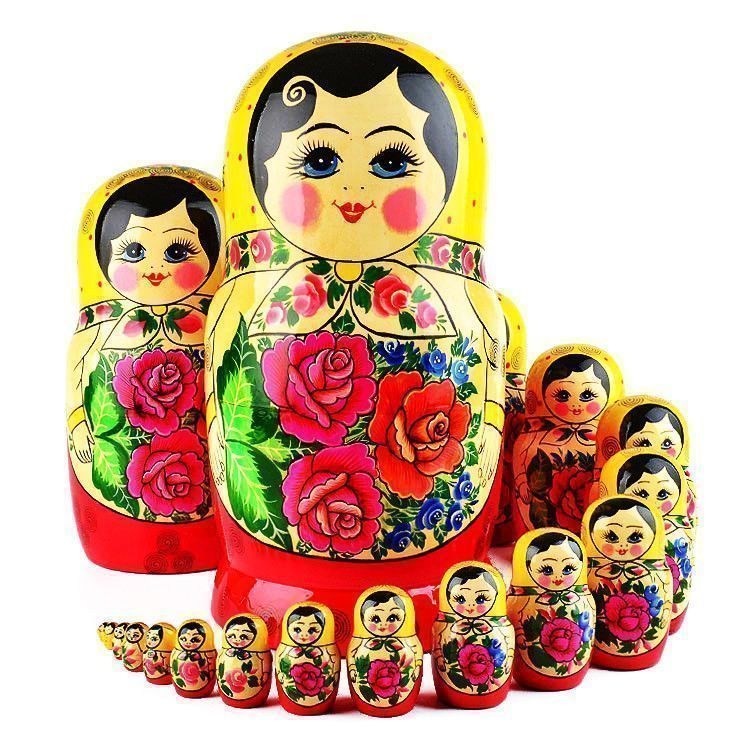 Red Roses 20 Pcs. Traditional Russian Doll