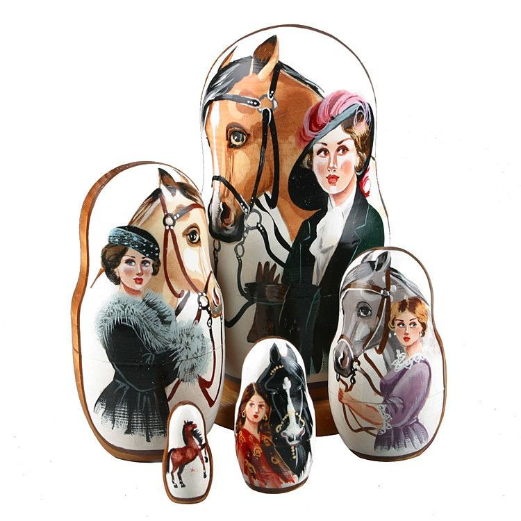 Lady and Horse Nesting Dolls