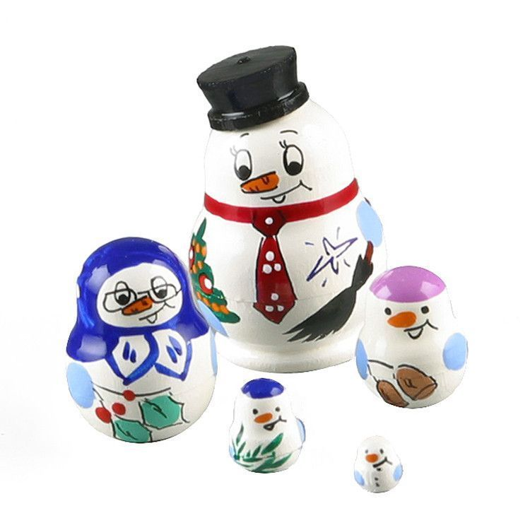 "1 1/4"" Tall Tiny Snowman Babushka"