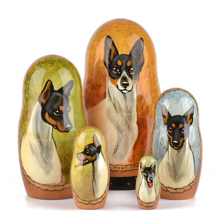 Toy Fox Terrier Dog Stacking Doll