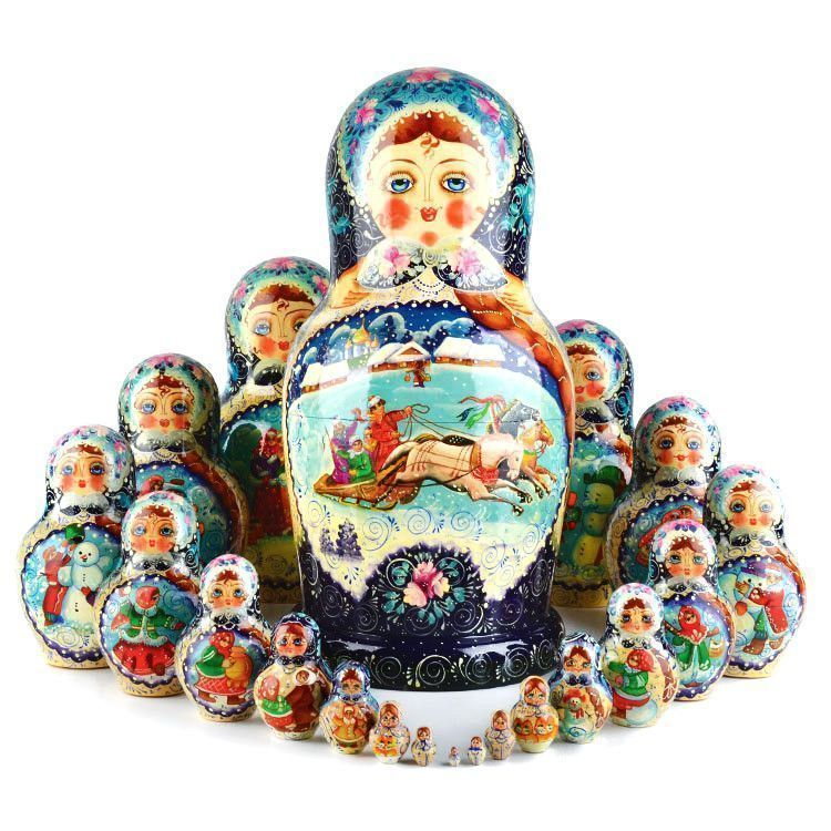 20 Pc Russian Winter Nested Doll