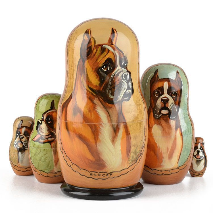 Boxer Dog Nesting Doll