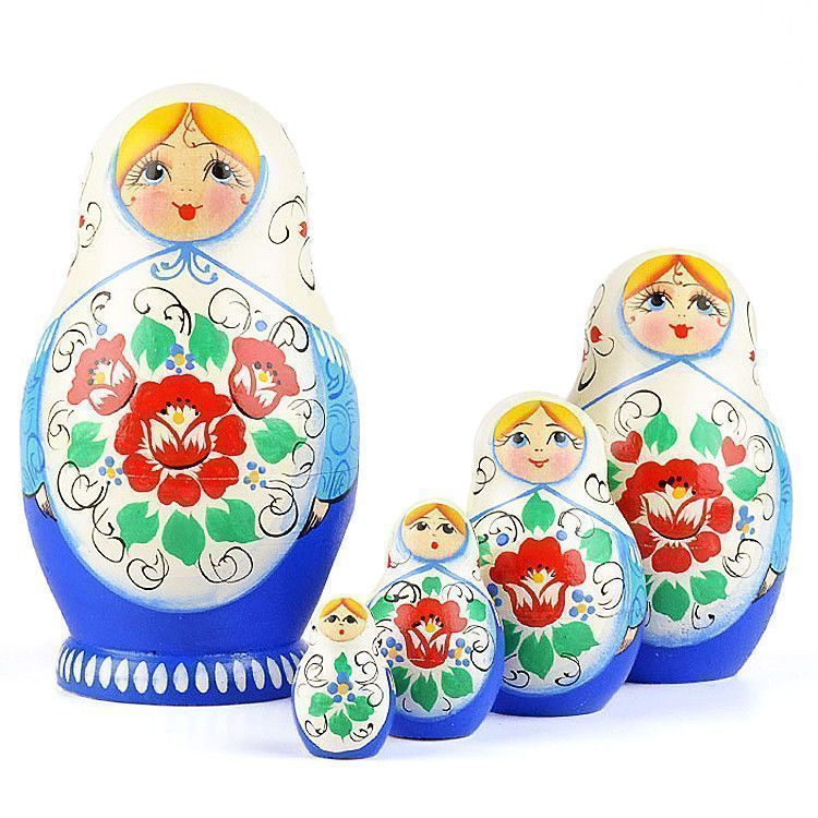 Blue and White Floral Babushka Doll