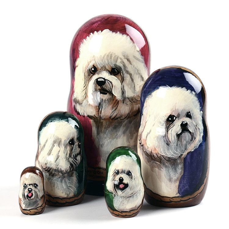 5 Piece Bichon Frise Stacking Doll