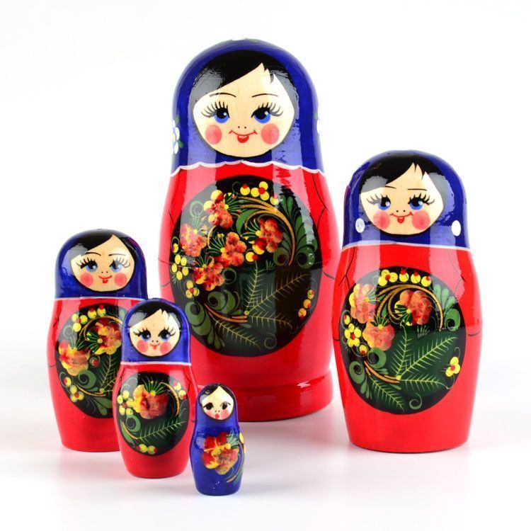 Blue Shawl Red Nesting Doll