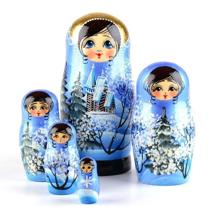 Blue Winter Nested Doll