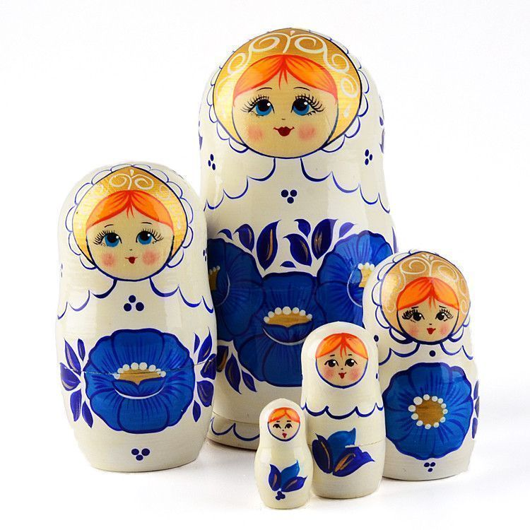 Blue Golden Flower Stacking Doll