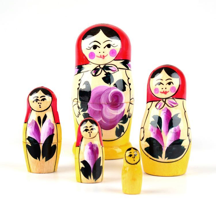 Purple Flowers Matryoshka Doll