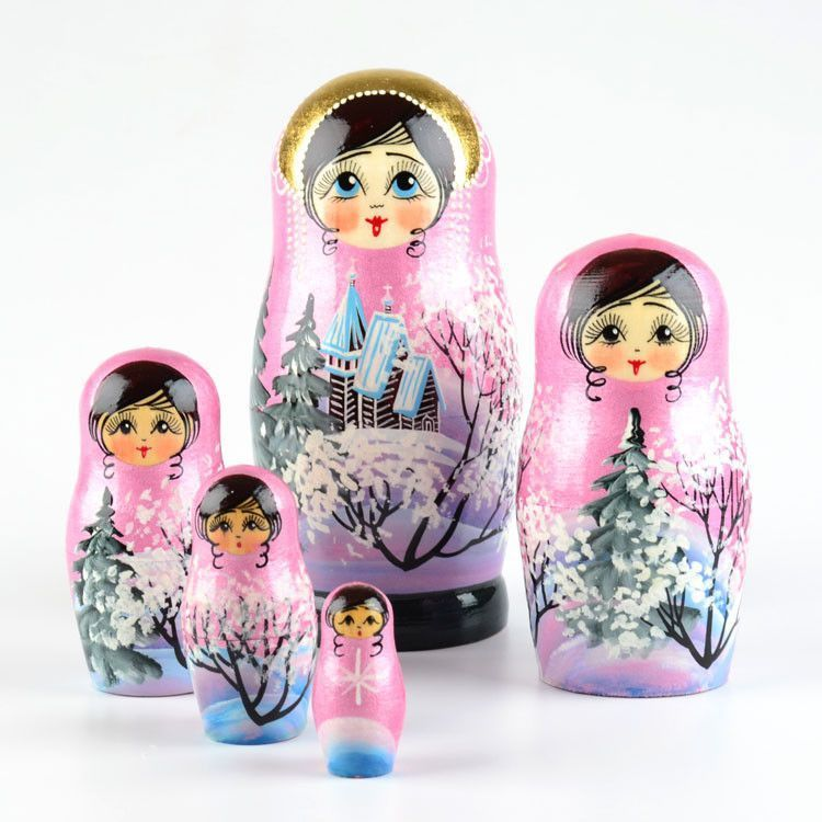 Pink Winter Nested Doll