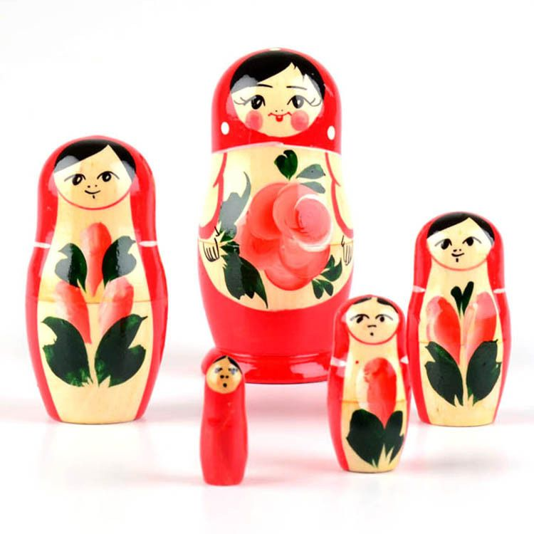 Red Floral Babushka Doll
