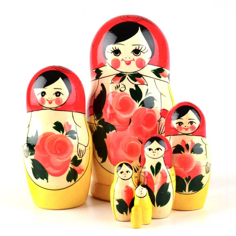 Traditional Matryoshka Doll with Pink Flowers