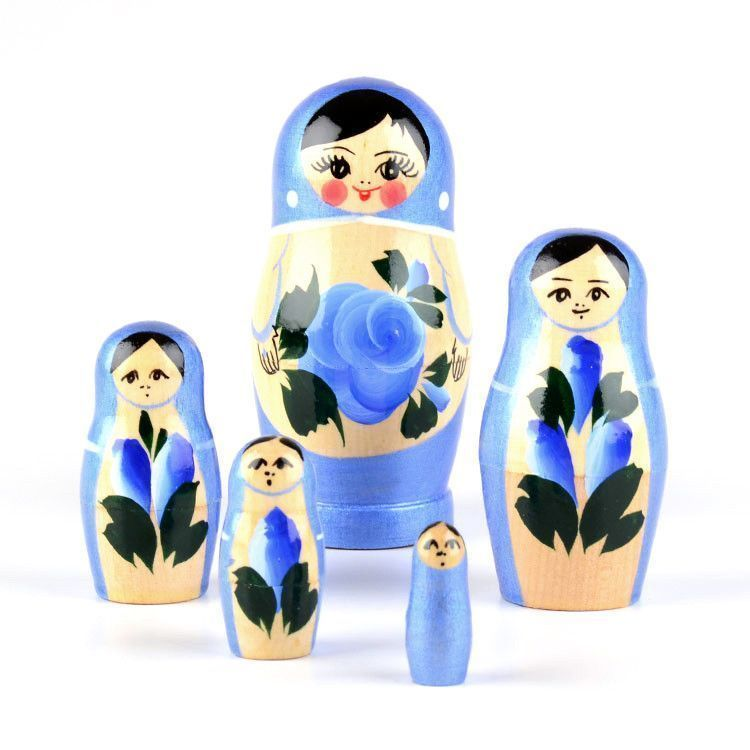 Blue Nested Doll with Flowers