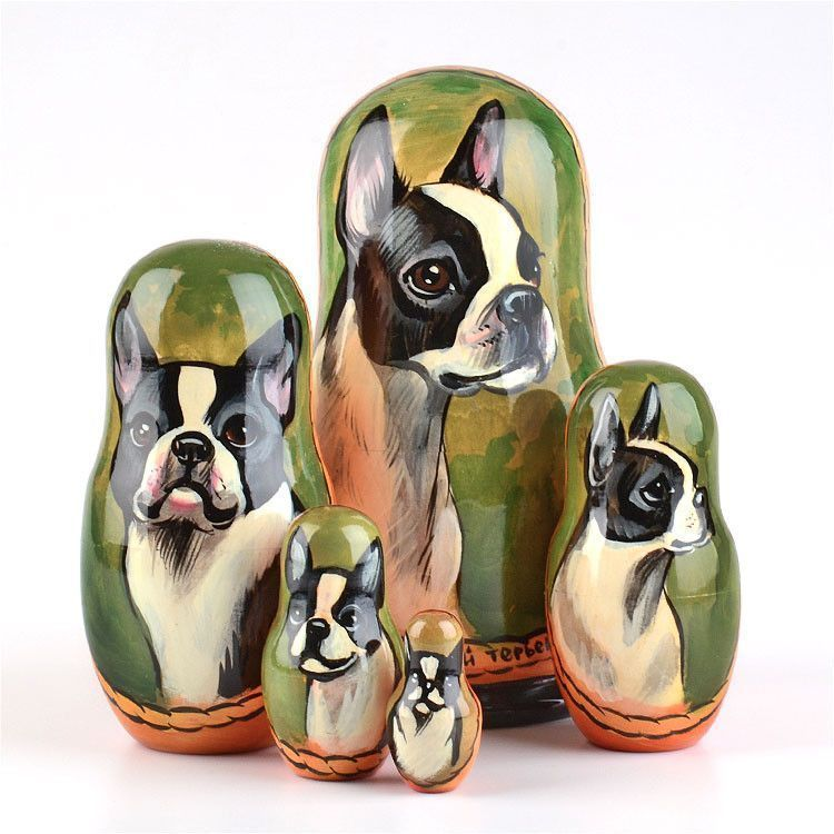 Boston Terrier Dog Stacking Doll
