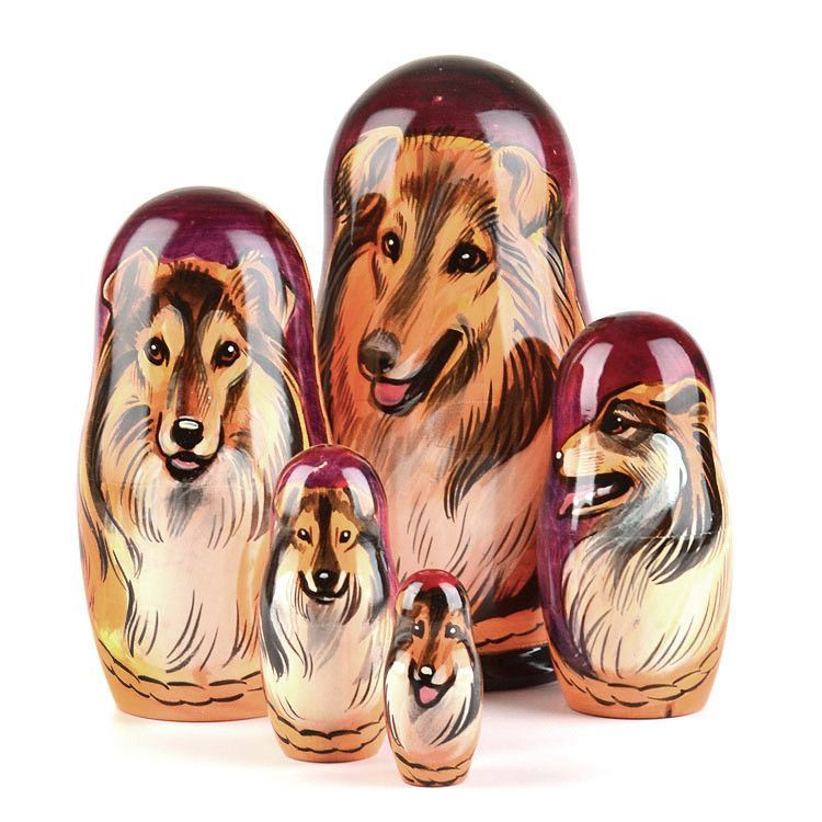 Collie Dog Breed Nested Doll
