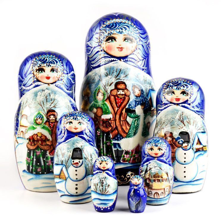 Russian Winter Matryoshka Stacking Doll