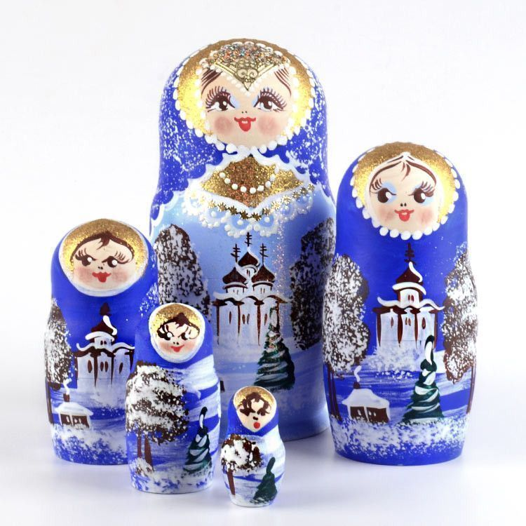 Blue Winter Sparkle Nested Doll