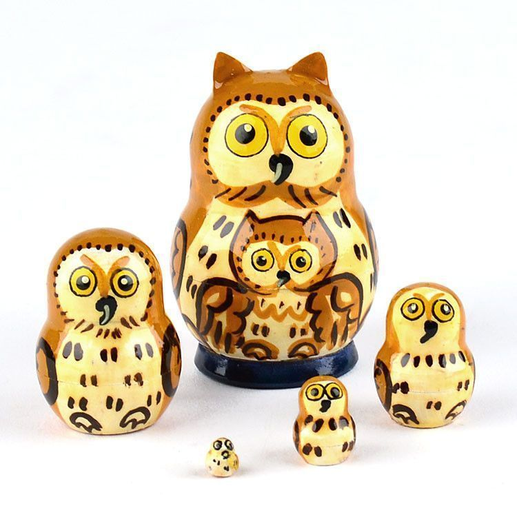 "2"" Tall Tiny Owl Matrioshka"